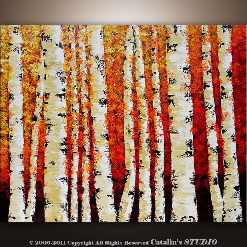 Abstract Modern Painting Landscape Birch Trees Art By Catalin Rhpinterest: Paintings For Living Room With Birch Trees At Home Improvement Advice