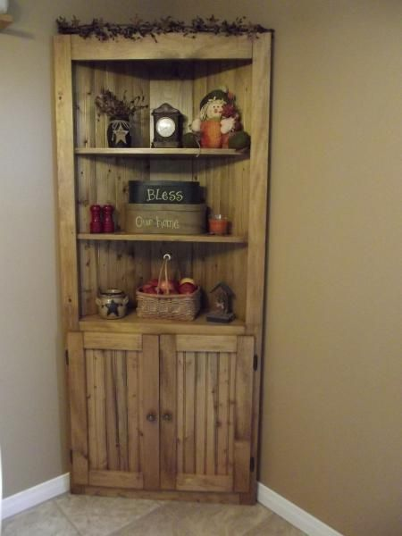 Make a corner useful rustic country wood pine corner for Diy hutch plans