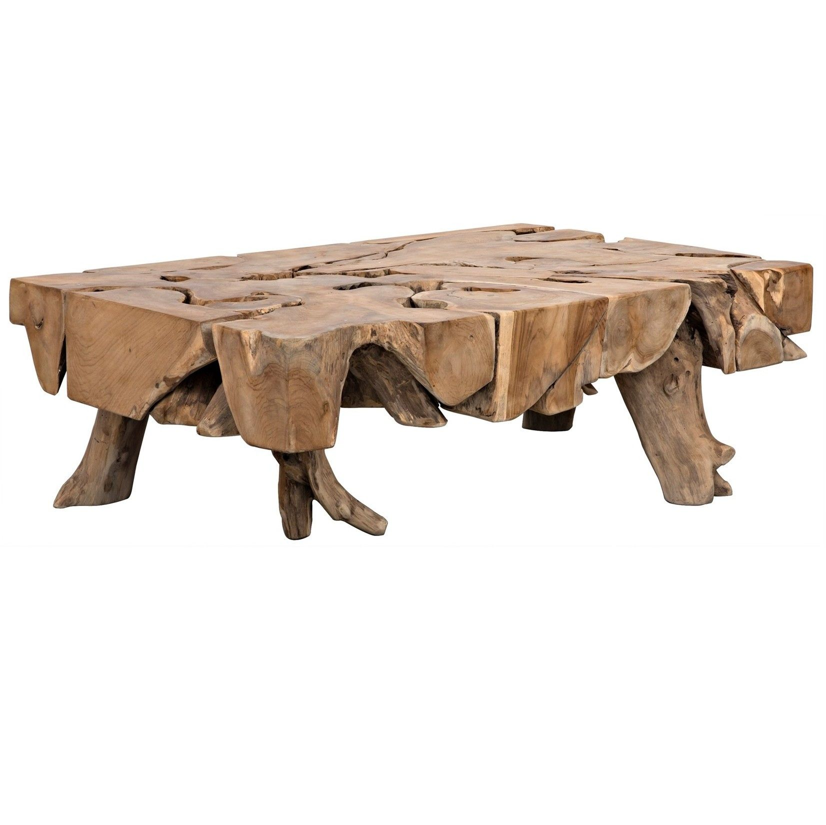 The Teak Root Coffee Table by Noir emphasizes natural ...