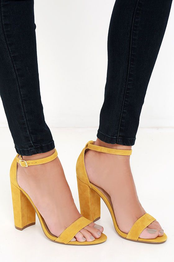 9d66362487e Steve Madden Carrson Yellow Suede Leather Ankle Strap Heels | Spring ...
