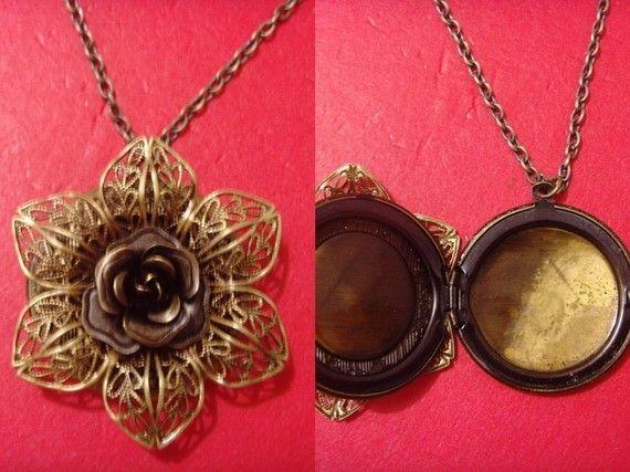 vintage style bronze rose craving filigree by amazingcollection4u, $7.99