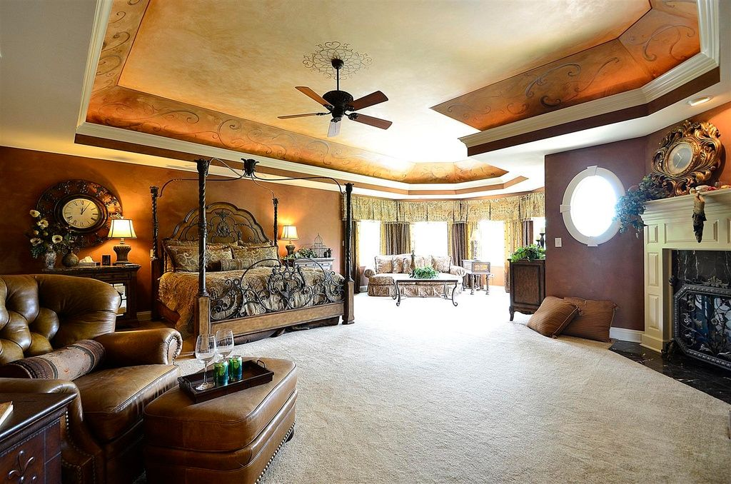 Mediterranean Master Bedroom with Fireplace, specialty