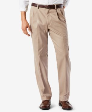 2736bea0db7e66 Dockers Men's Easy Classic Pleated Fit Khaki Stretch Pants - Tan/Beige 30x32