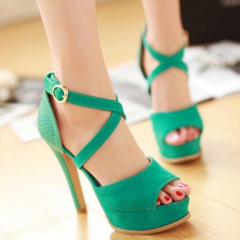 dc661f9c2e5 Moda zapatos de tacón alto de las mujeres plataforma de zapatos de punta  abierta tacones delgados sandalias Beige Verde negro Albaricoque(China  (Mainland))