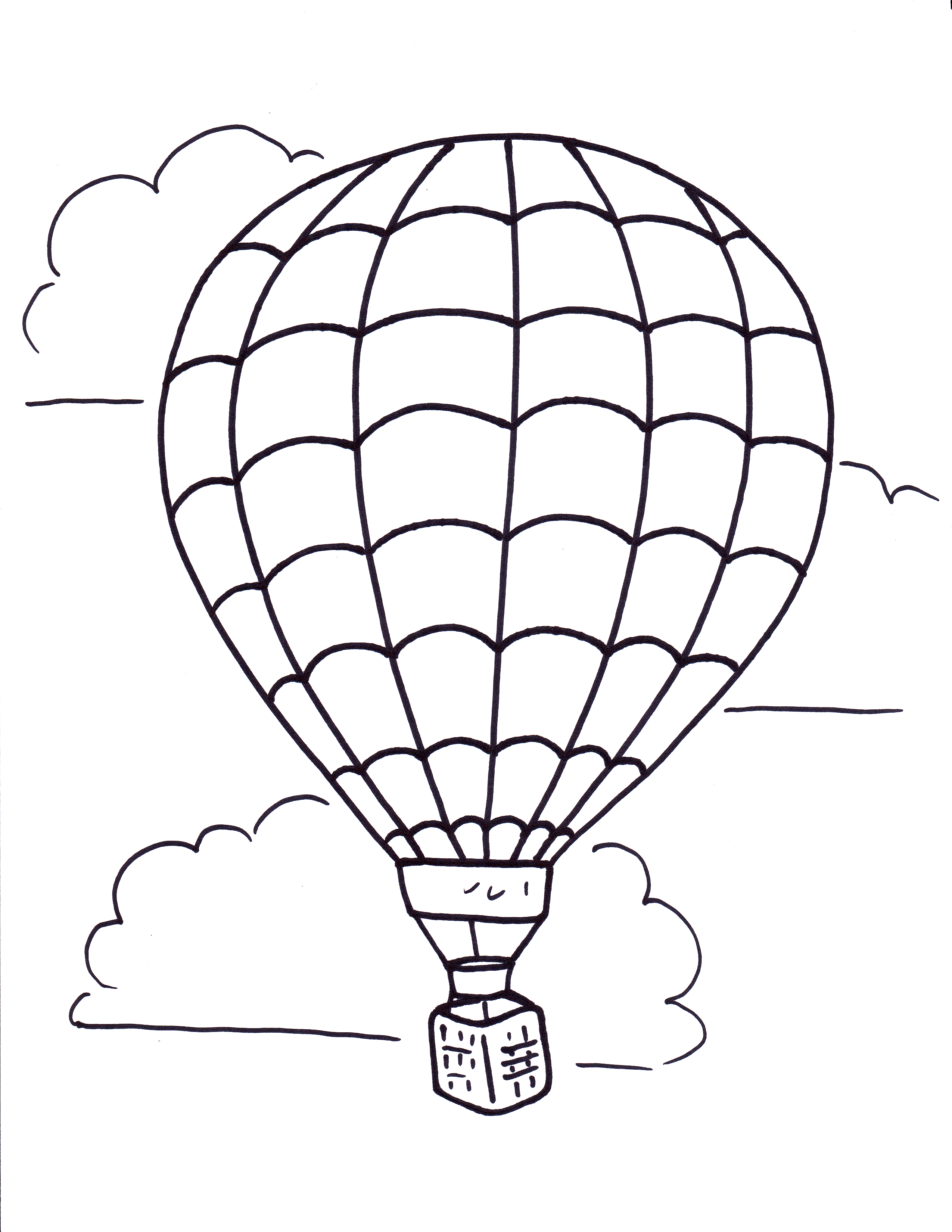 Hot Air Balloon With Netting Motif Coloring Pages For Kids Printable Balloons