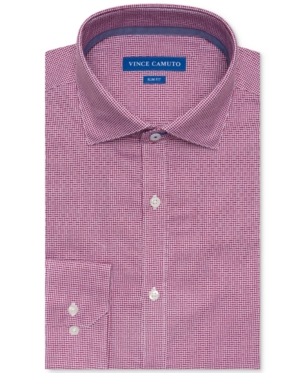 3be61cdcbc2 Vince Camuto Men s Slim-Fit Comfort Stretch Burgundy Basket Dobby Dress  Shirt - Red 15.5 34 35