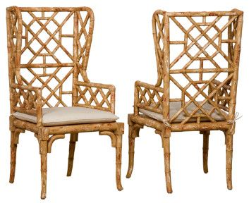 Bamboo Wingback Chairs Chairs Furniture Home Decor