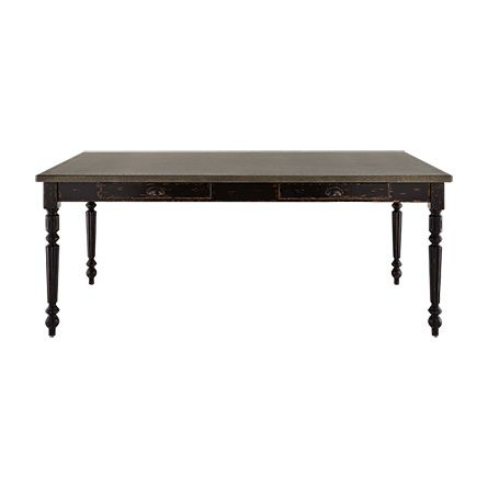 Adeline 74 Rectangle Steel Top Dining Table With Turned Leg In