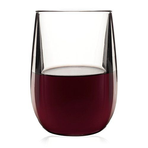 BarLuxe Vintage Collection 11.5 Ounce Tritan Stemless Wine Glass, Set of 6 * For more information, visit image link.
