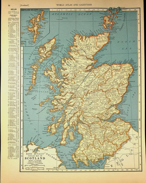 vintage map scotland 1930s original 1935
