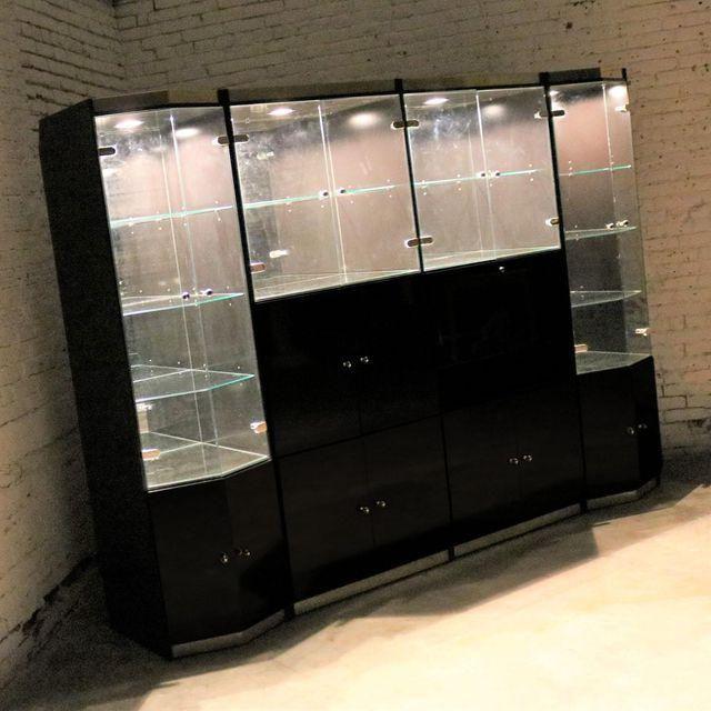 Italian Black Laminate And Glass Breakfront $3295