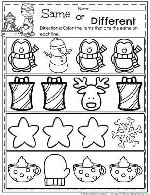 Free december preschool worksheet same or different also worksheets epic ideas rh pinterest