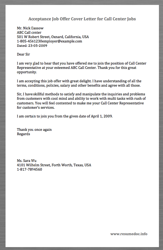 Here is a Sample Acceptance Job Offer Cover Letter for Call ...
