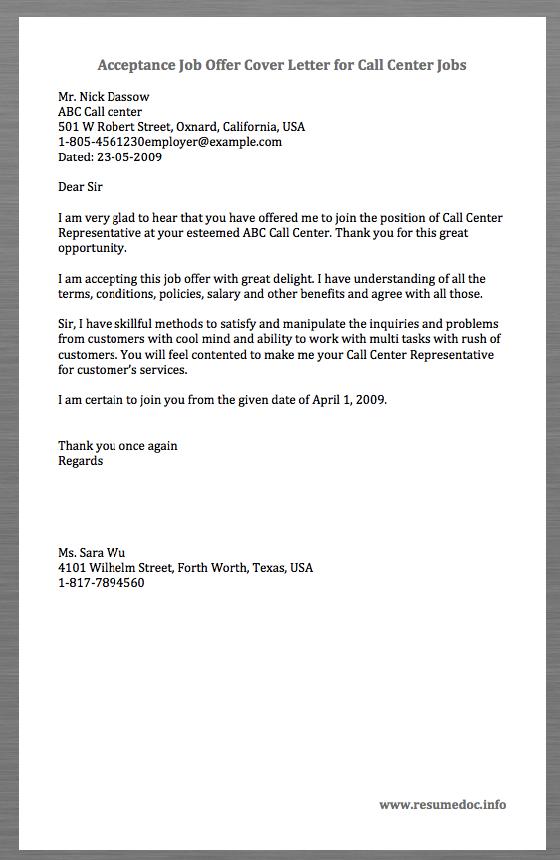 call center cover letter samples
