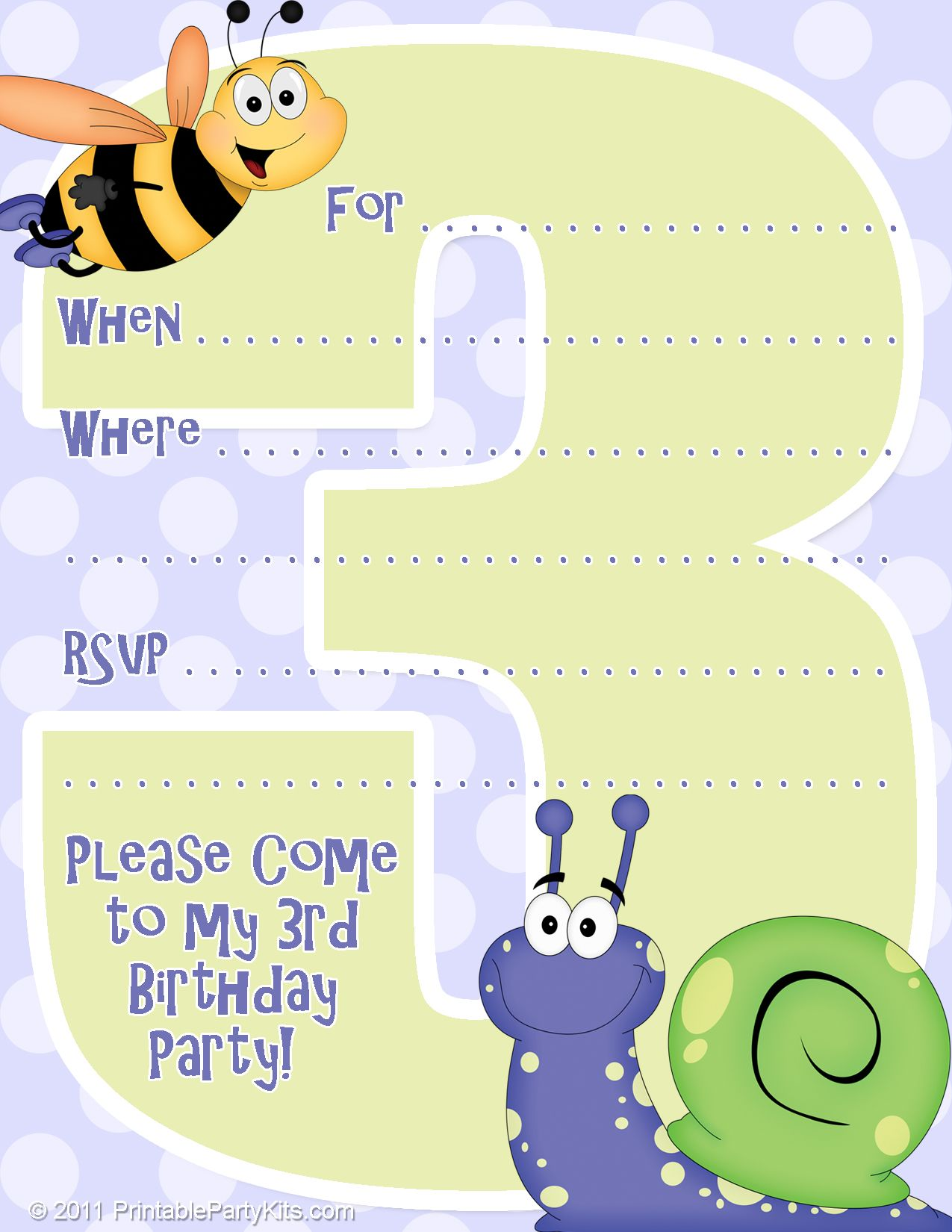 3rd Birthday Party Invitations Free Printable