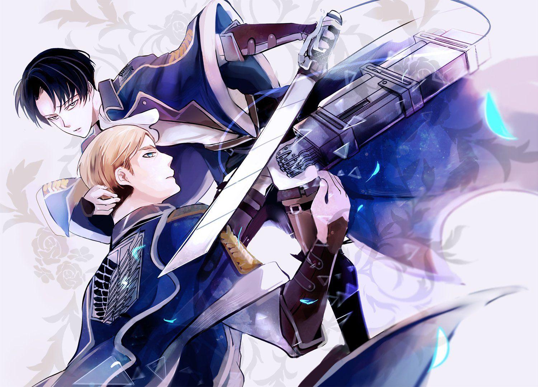 Anime Attack On Titan Levi Ackerman Erwin Smith Shingeki No Kyojin