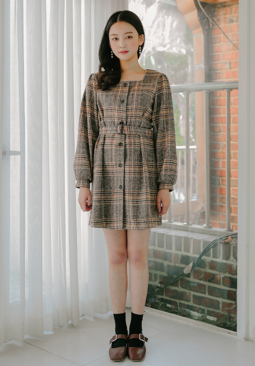ROMANTIC MUSESquare Neck Belted Check Dress mixxmix