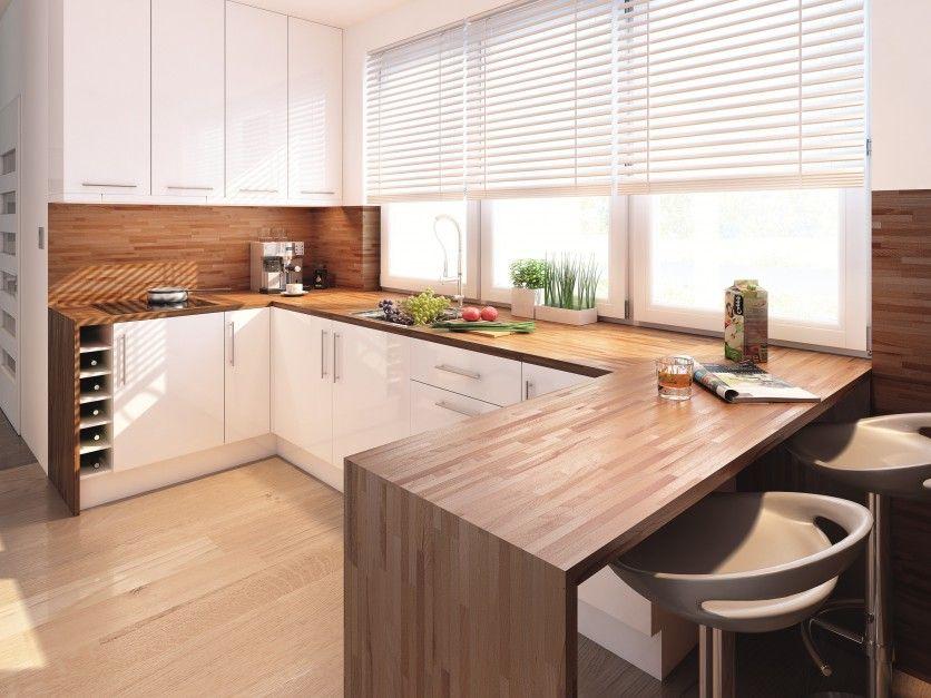 W kuchni domu Ambrozja białe meble, żaluzje, ramy dużych okien ocieplono drew   -> Waniliowa Kuchnia Z Drewnianym Blatem