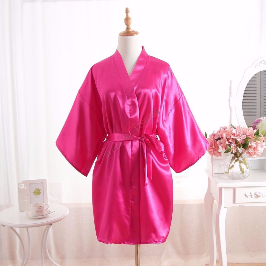 2e4819b2f4 Hot Solid Women robe Silk Satin Robes Wedding Bridesmaid Bride Gown kimono  robe robe Silk Satin