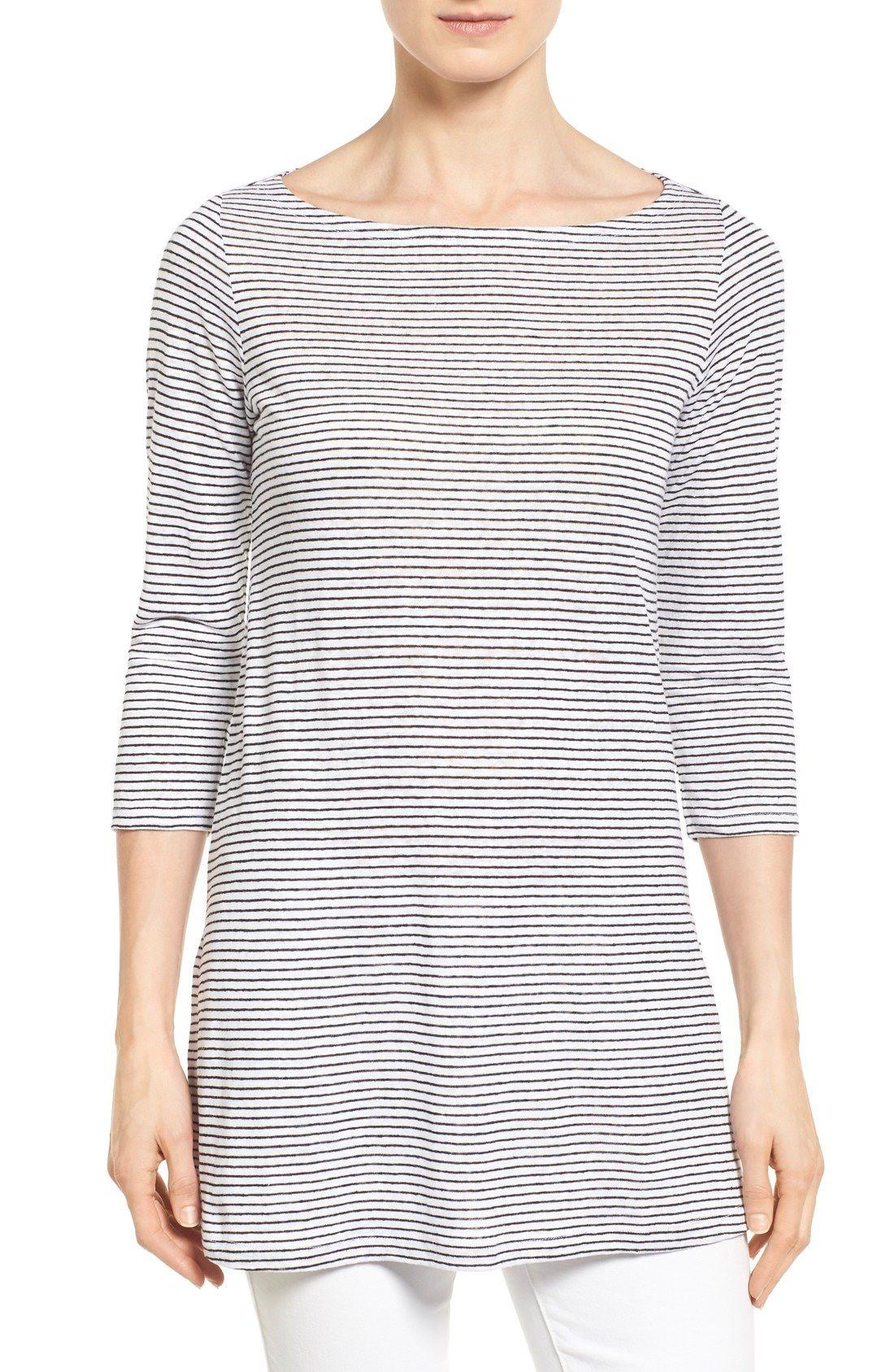 Eileen Fisher Stripe Organic Linen Knit Bateau Neck Tunic (Regular