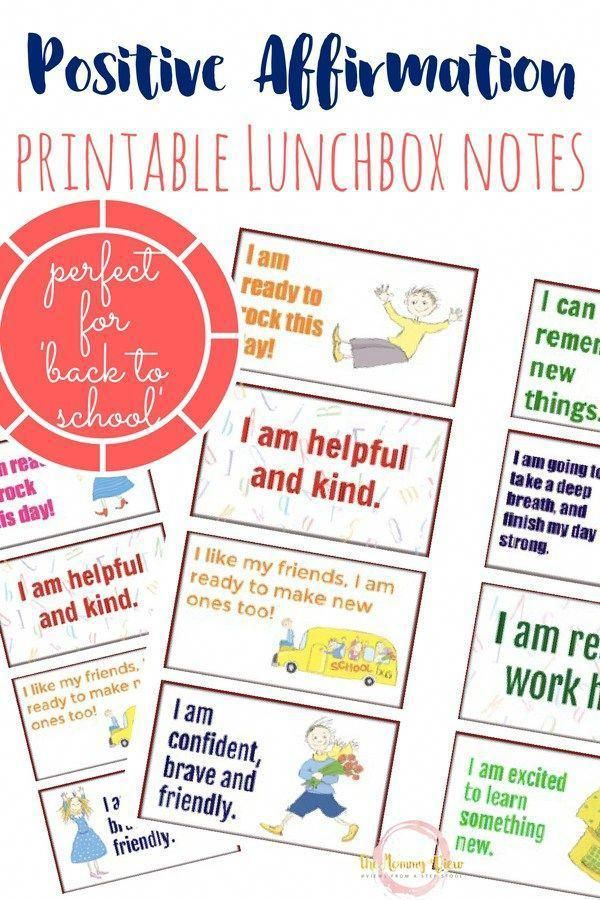 Printable Back to School Affirmation Lunchbox Notes Parent Support