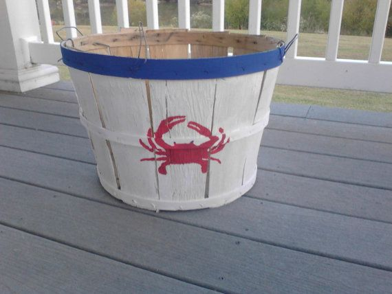 Eastern Shore Hand Painted Crab Bushel Basket With Crab