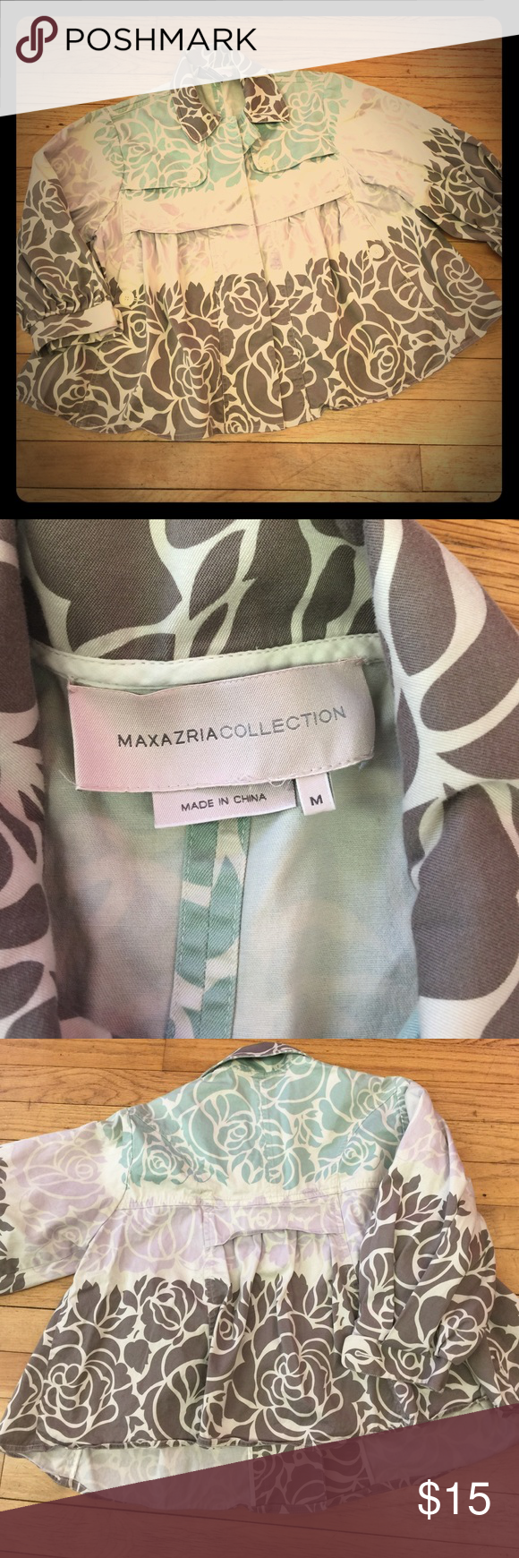 listing! Maxazria Collection swing jacket, M Gorgeous Maxazria Collection swing jacket! Size Medium. Colors go from the brown collar to a soft moss green to a lavender and back to brown against a khaki background. Lightweight denim material, 97% cotton, 3% spandex. All items from a clean, smoke-free home. Feel free to ask any questions or make an offer! BCBGMaxAzria Jackets & Coats