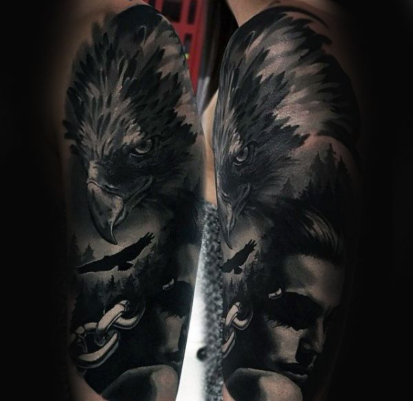 100 crow tattoo designs for men black bird ink ideas for Ravens face tattoos