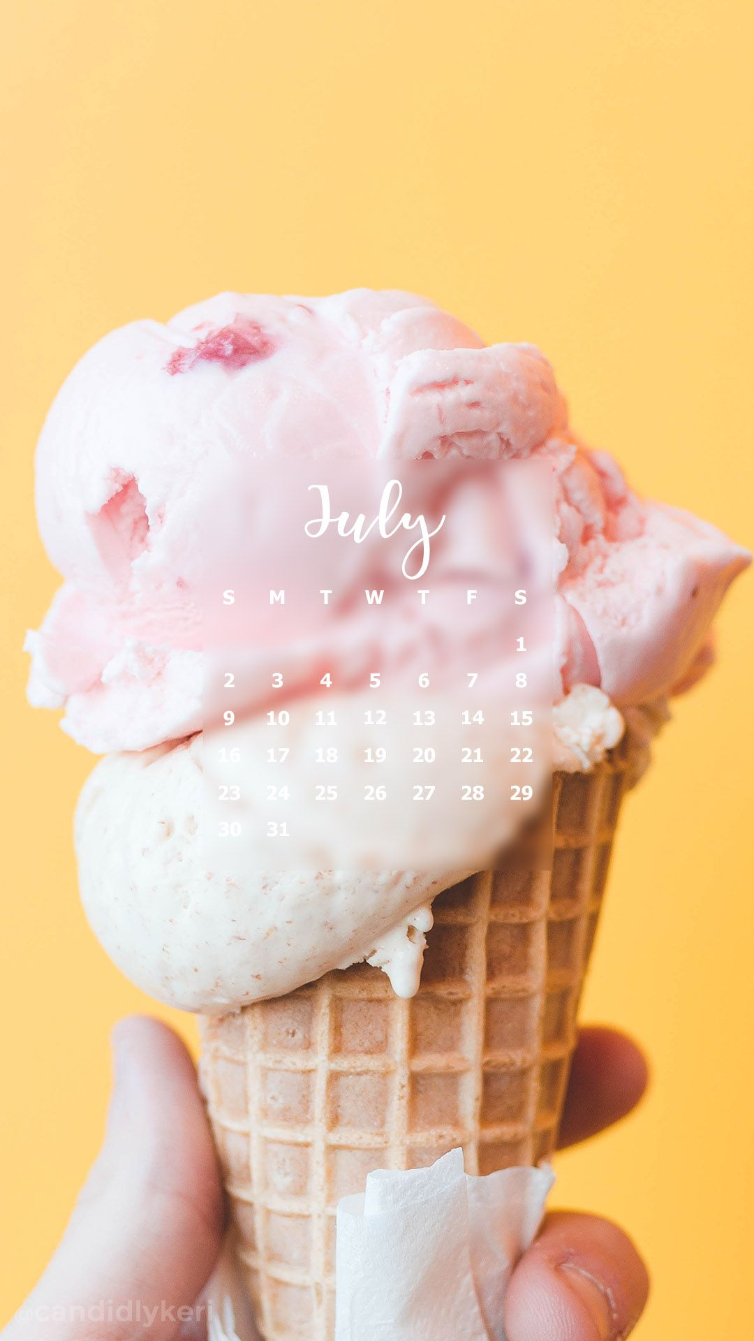 Melting Ice Cream pink cream and yellow bright summer July calendar 2017  wallpaper you can download for free on the blog! For any device; mobile,  desktop, ...