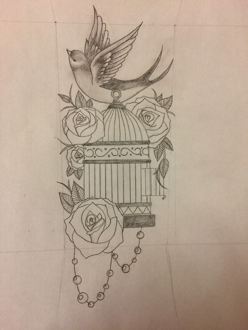 Tattoo I Drew For A Friend Cage Roses And Bird With Images Birdcage Tattoo Flying Bird Tattoo Cage Tattoos