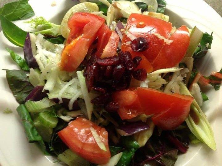 Vermont Farmer Training Program Salad - fresh Chard, Fennel, Purple Peppers & Kohlrabi topped with Cranberry Vinaigrette