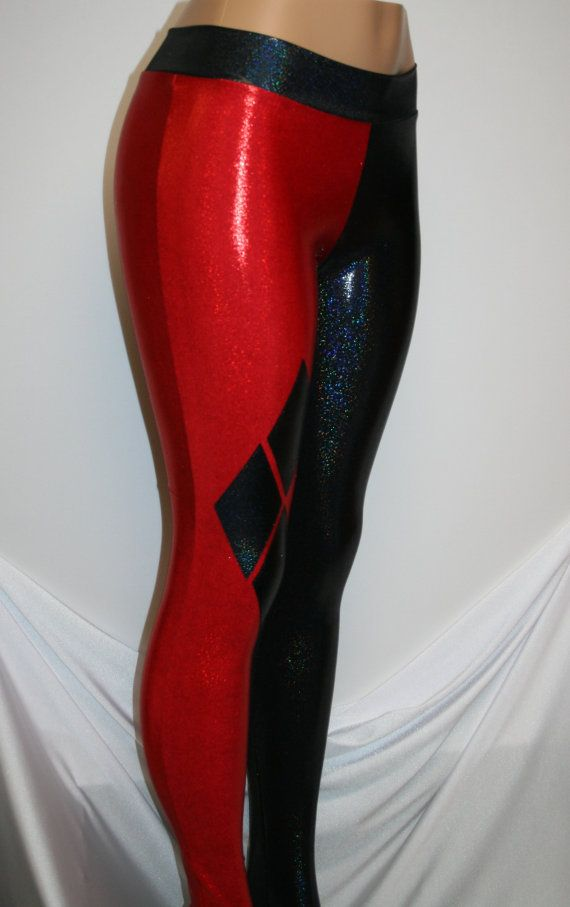 ca865a05 Harley Quinn Leggings---Cosplay Red and Black Hologram Mini-Dot Leggings.  Great for Costumes, Roller Derby, Comic-Con