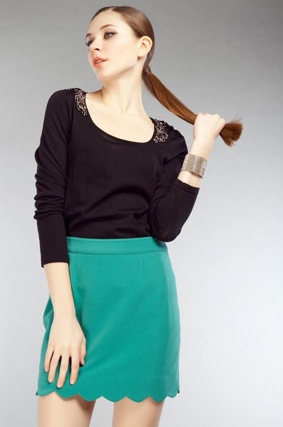 $13.99  Scoop Neck Long Sleeve Cotton Sweater With Beaded Shoulder Decoration#group buying -whatabeautifullife.com