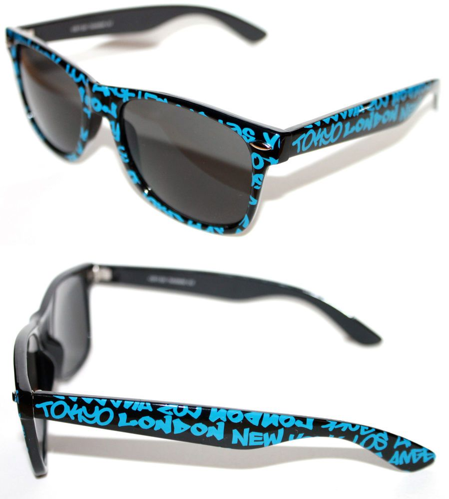 0dcfebb48276 Men s Women s Horn Rimmed Sunglasses Square graffiti Black Blue NY Paris  Tokyo  Unbranded  Square