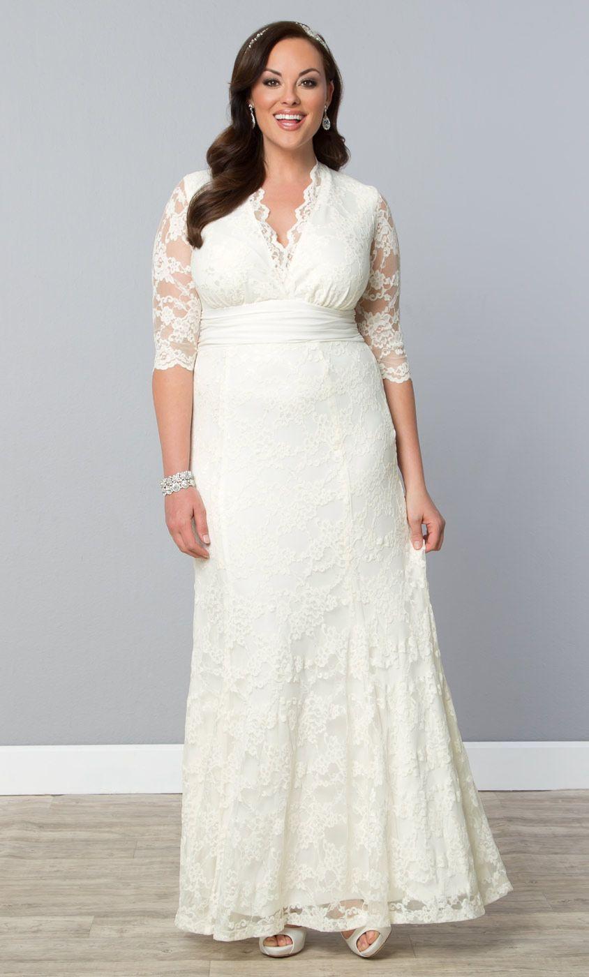 b7cf0c28da7a Walk down the aisle in our plus size Amour Lace Wedding Gown. www.kiyonna.com   KiyonnaPlusYou  MadeintheUSA  Bridal