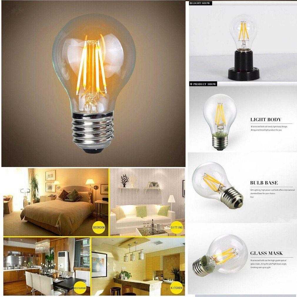 Amazon Com Leadleds E27 Led Filament Bulb Lamp Nostalgic Edison Style E27 4w To Replace 40w Incandescent Bu Filament Bulb Filament Lighting Filament Bulb Lamp