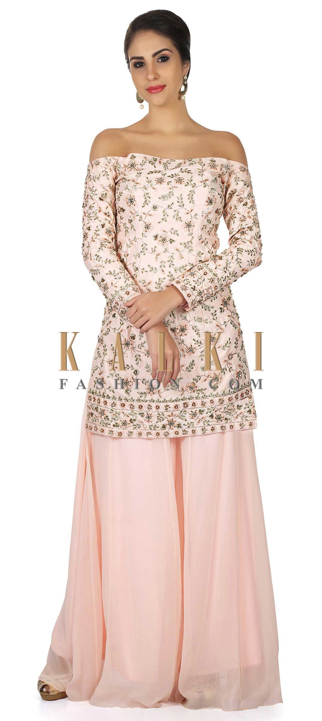 1fb1d4efd7f5f Baby pink top off shoulder embroidered top with palazzo pant only on Kalki