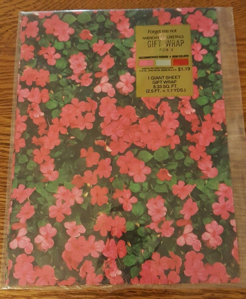 Nos American Greetings Forget Me Not Wrapping Paper Vintage Nip