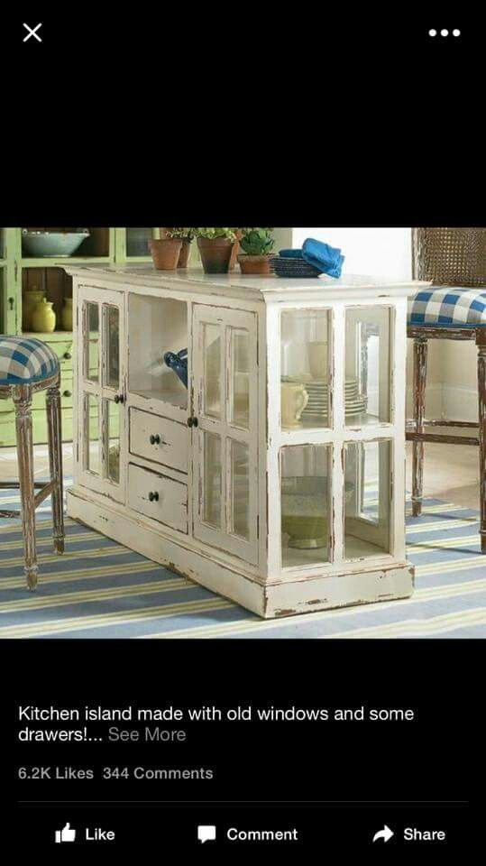 Diy Case Kitchen Island kitchen island made with some old windows and drawers | diy