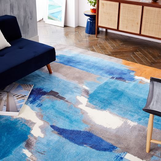 Modern Blue Rug For Living Room Abstract Painting Rug West Elm