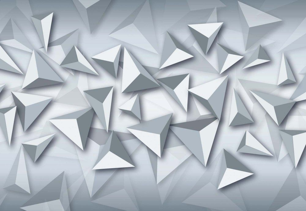 3D Triangle Wall Mural 3D Modern Grey And White Triangles ...