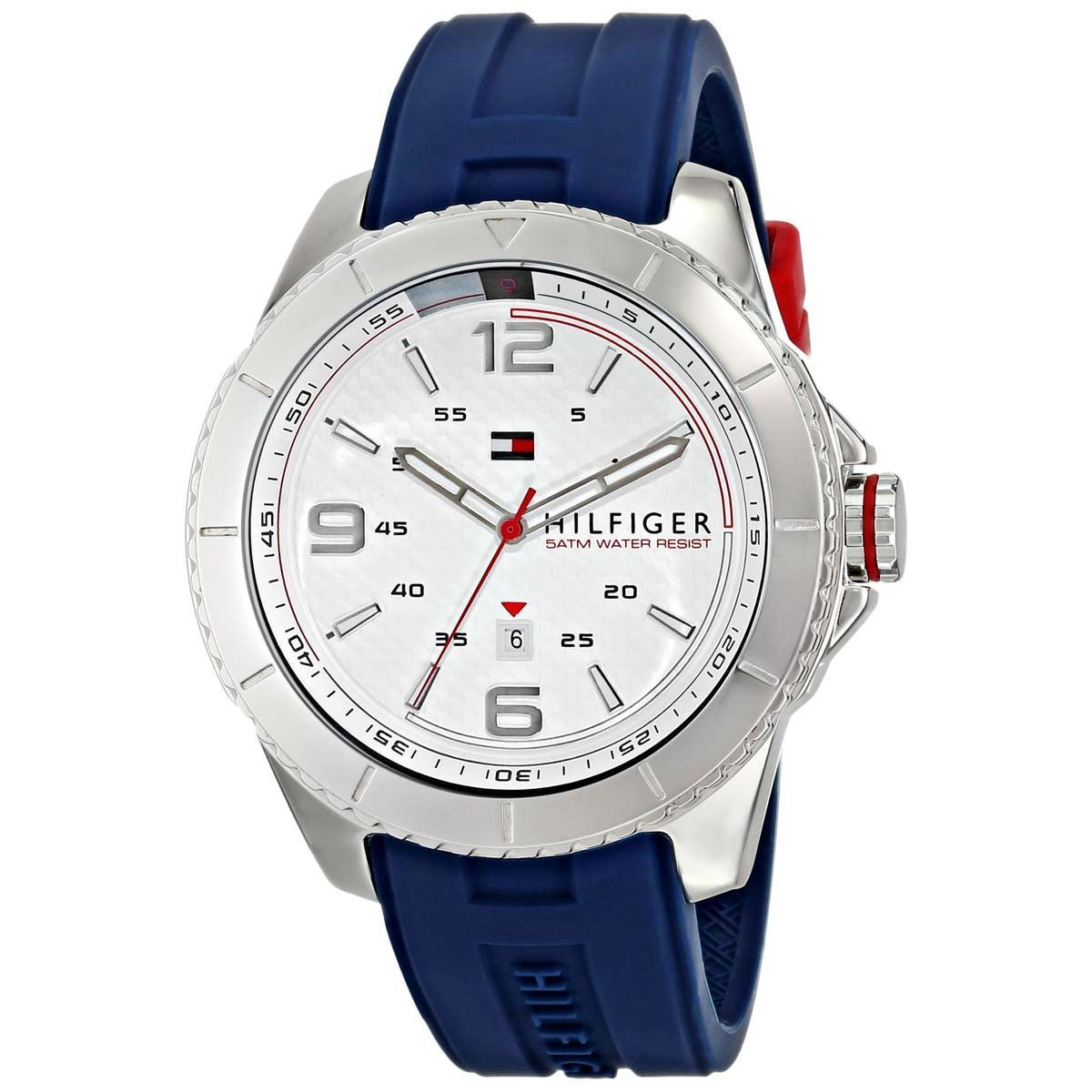 Tommy Hilfiger 1791000 Men's Ash White Dial Blue Silicone Strap Watch