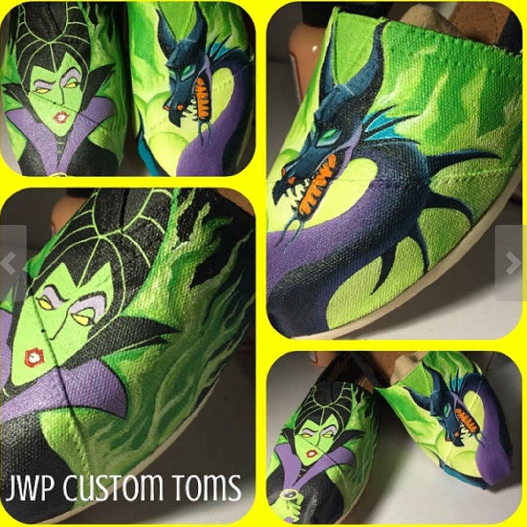 cf1b0e278c1a3 Maleficent painted shoes | Crafts in 2019 | Hand painted shoes, Hand ...