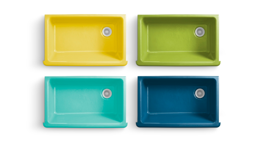 love these colorful enameled cast-iron sinks from...Jonathan Adler ...