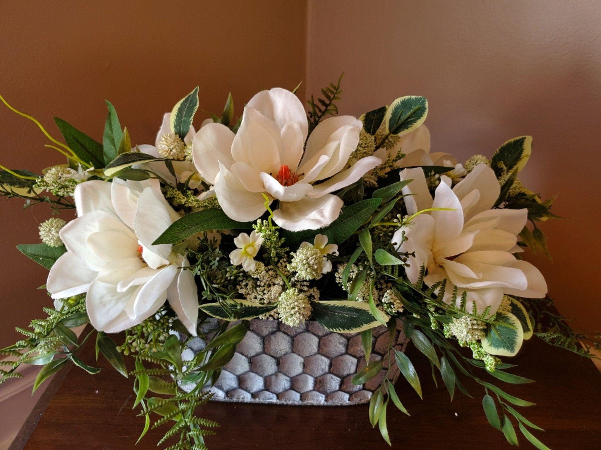 Magnolia Centerpiece Farmhouse Centerpiece Year Around Etsy Magnolia Centerpiece Spring Table Decor Farmhouse Centerpiece