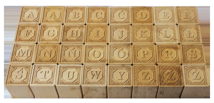 Drewniane Klocki Polski Alfabet Niemalowane Kraflame Zabawki Drewniane
