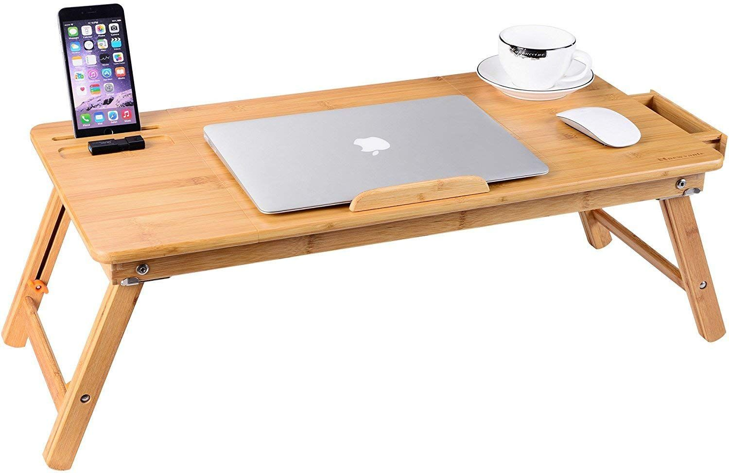 Laptop Desk Nnewvante Bamboo Laptop Table Adjustable Lap Tray Bed Serving Tray Breakfast Table Foldable Coffee Tea Table 5 Tilting Top Angles 2 Latches Prevent Laptop Table For Bed Laptop Table Bed Tray