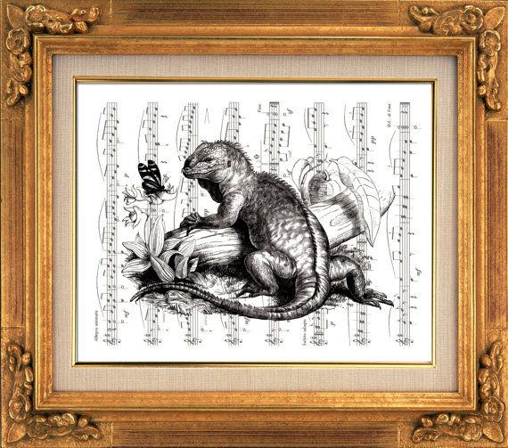 Iguana, Black and White, Victorian Art, Bird Art, Sheet Music Art, Unique Gift, Book Art, Dorm Room, Wall Decor, Home Decor, Giclee Print
