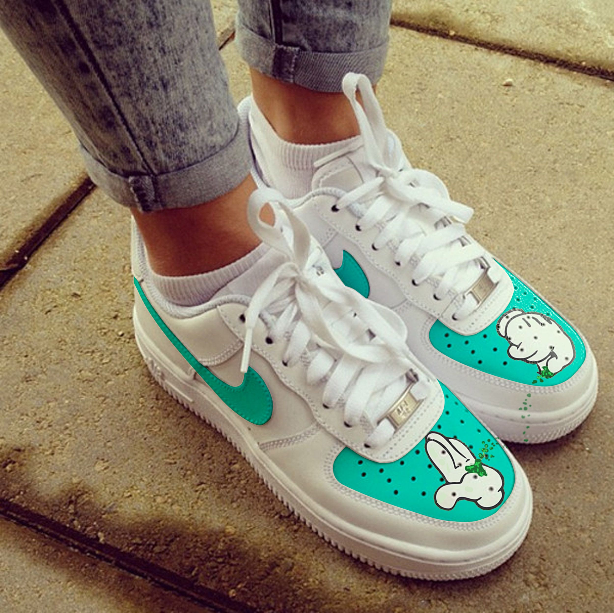 Custom Nike Air Force one, micky mouse,weed,grinder,custom sneakers