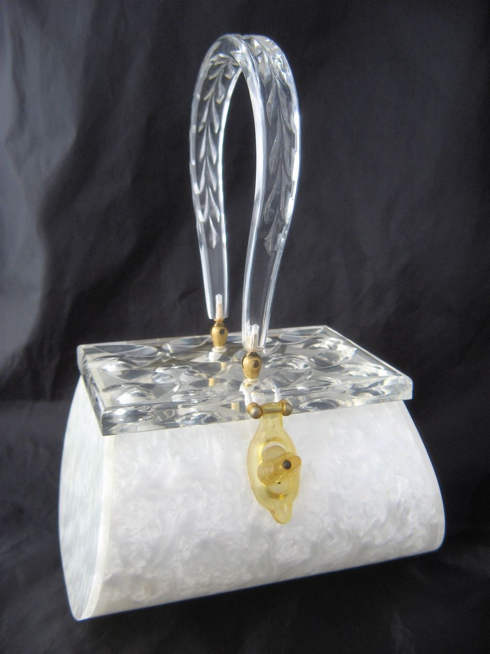 1950s Rialto NY Pearlized White & Clear Lucite Handbag Purse - Vintage Lucite Purses on Ruby Lane $149.00